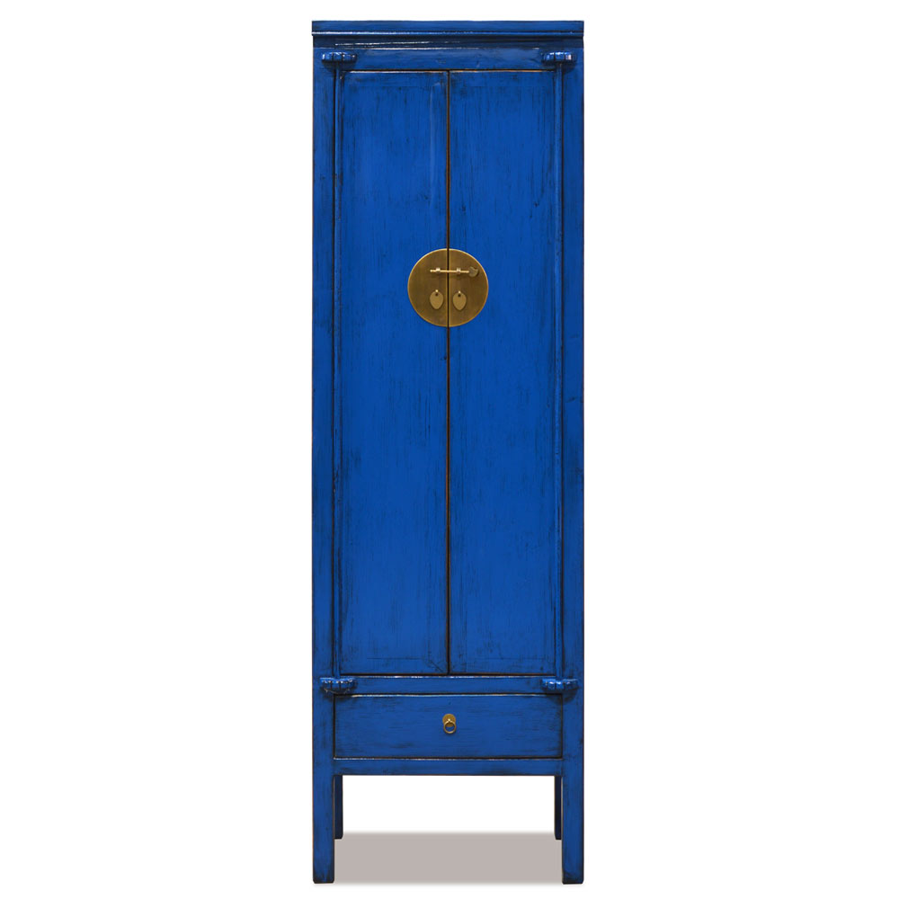Distressed Navy Blue Elmwood Chinese Ming Armoire