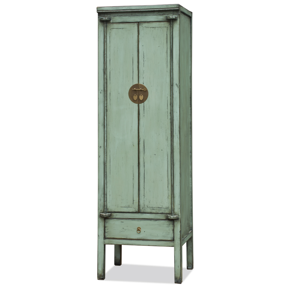 Distressed Aquamarine Green Elmwood Chinese Ming Armoire