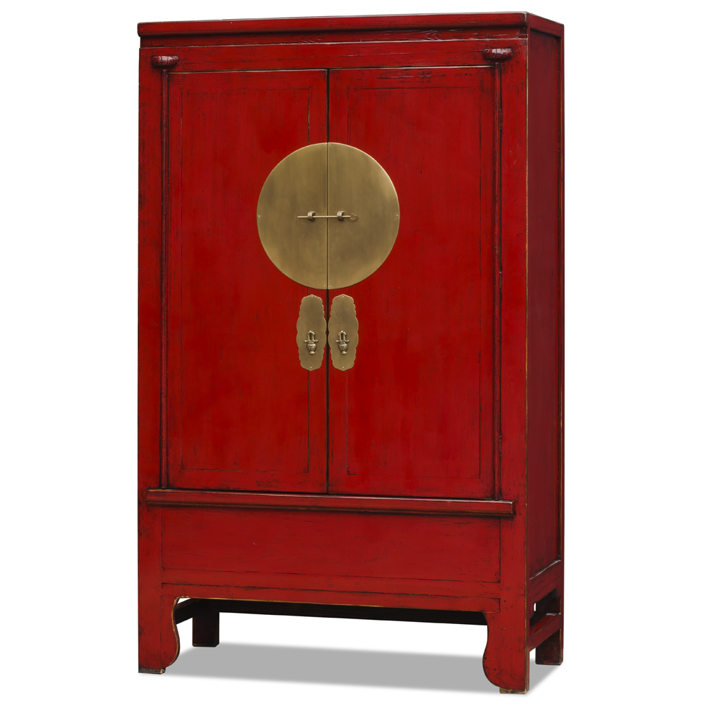 Distressed Red Elmwood Chinese Ming Wedding Armoire
