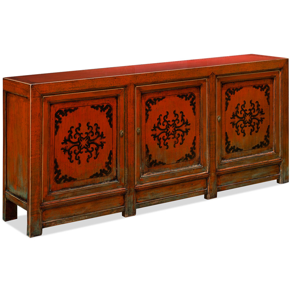 Hand Painted Distress Orange Elmwood Tibetan Cabinet
