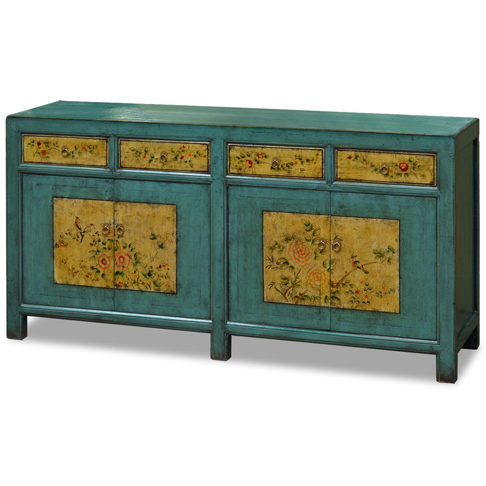 Hand Painted Distressed Blue Bird and Peony Elmwood Tibetan Cabinet