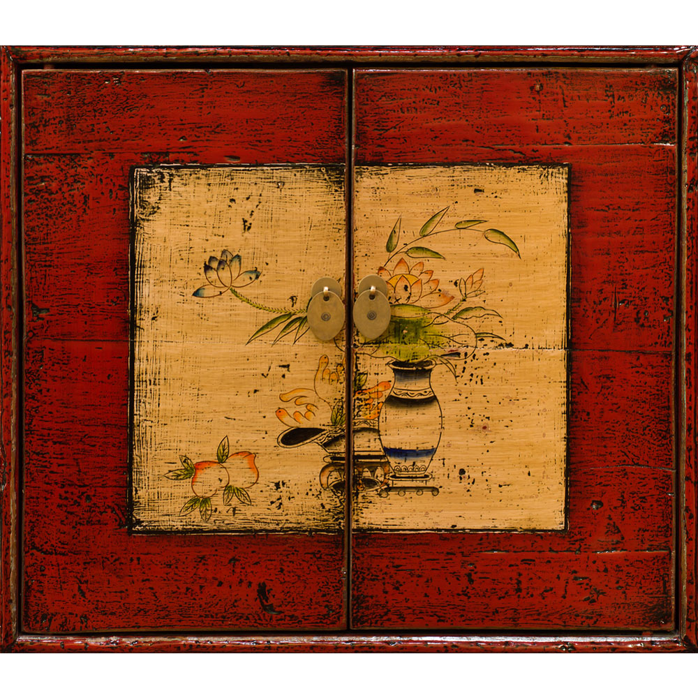 Hand Painted Distressed Red Flower Still Life Elmwood Tibetan Cabinet