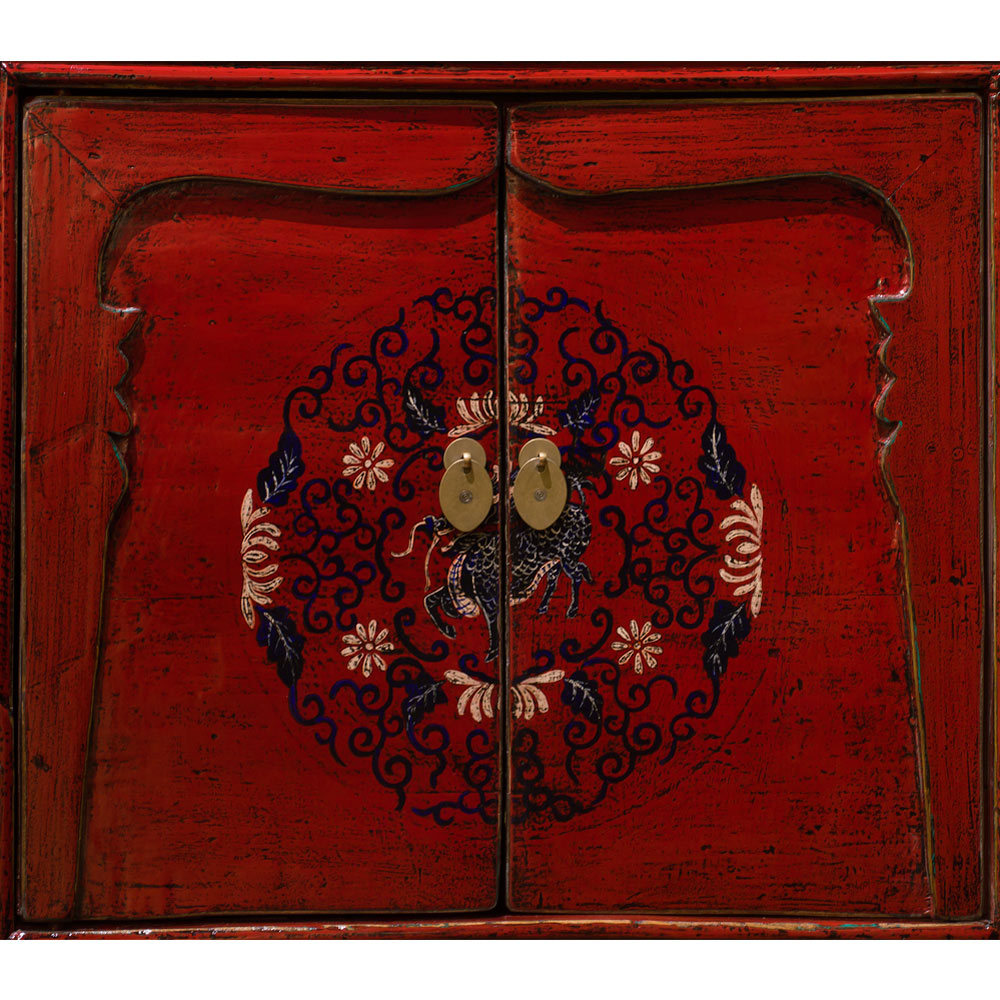 Hand Painted Distressed Red Elmwood Tibetan Cabinet