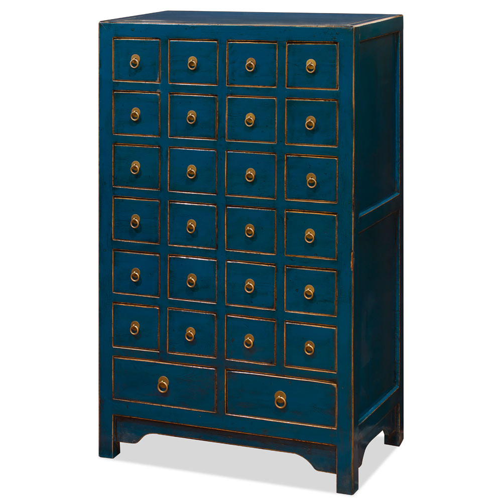 Distressed Blue Elmwood Chinese Apothecary Chest of Drawers
