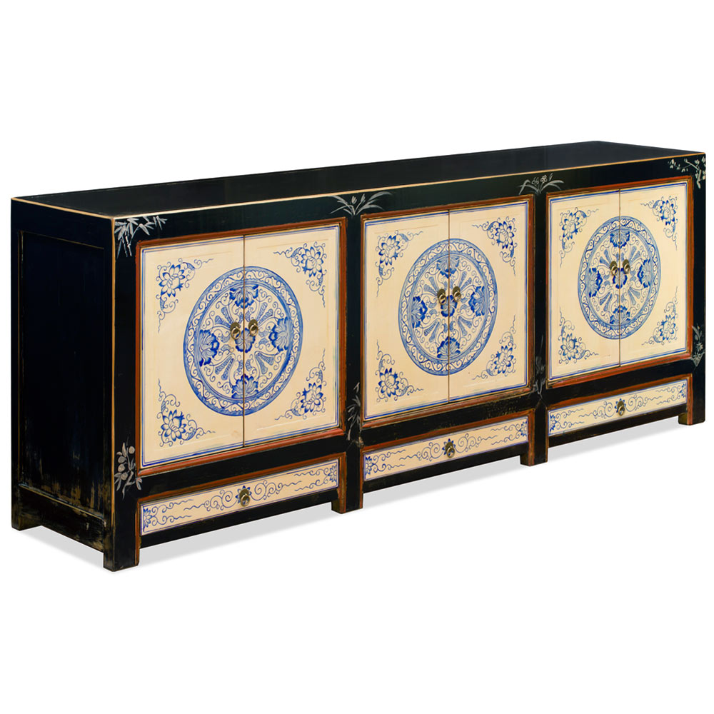Hand Painted Distressed Blue and White Elmwood Tibetan Cabinet