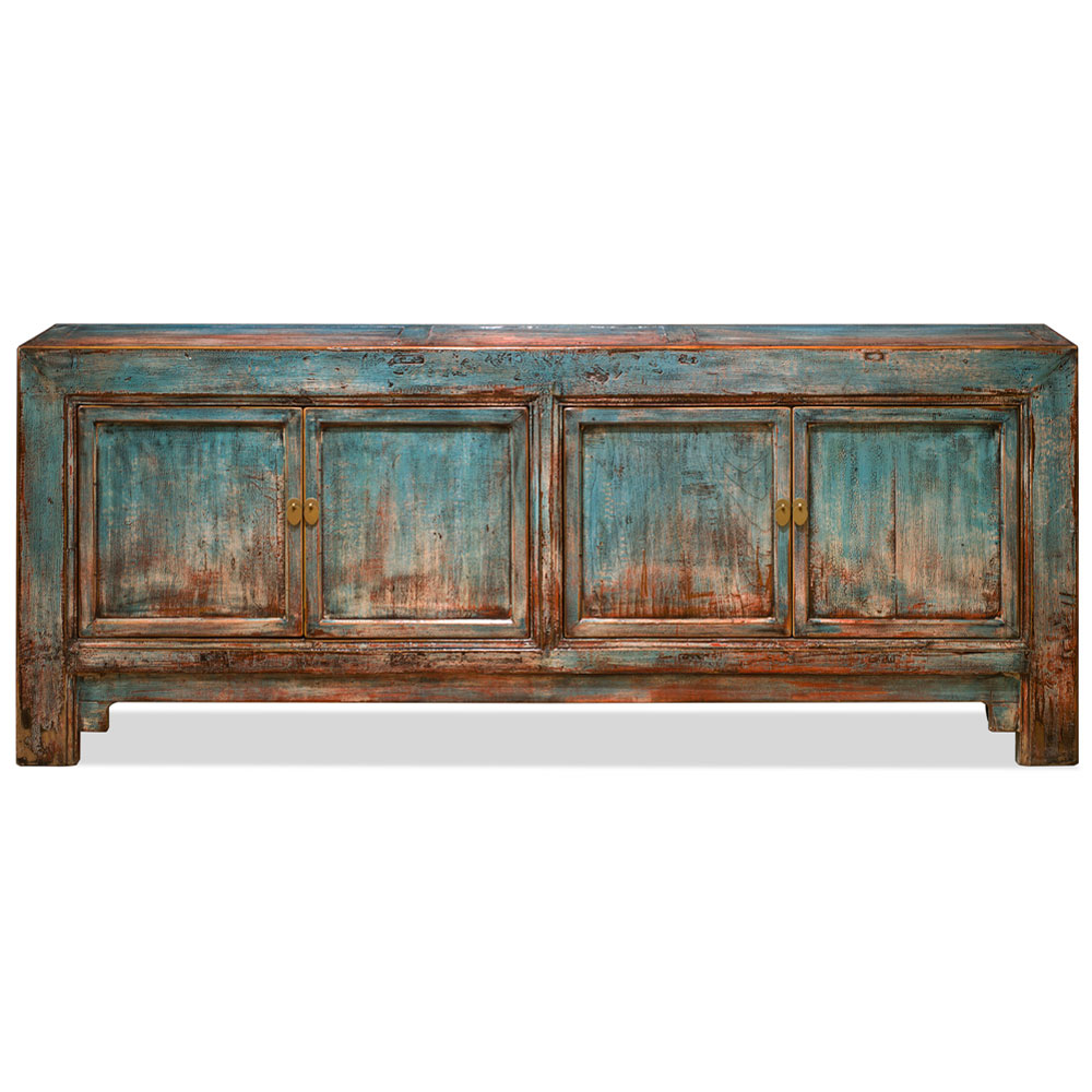 Distressed Light Blue Elmwood Mandarin Oriental Cabinet