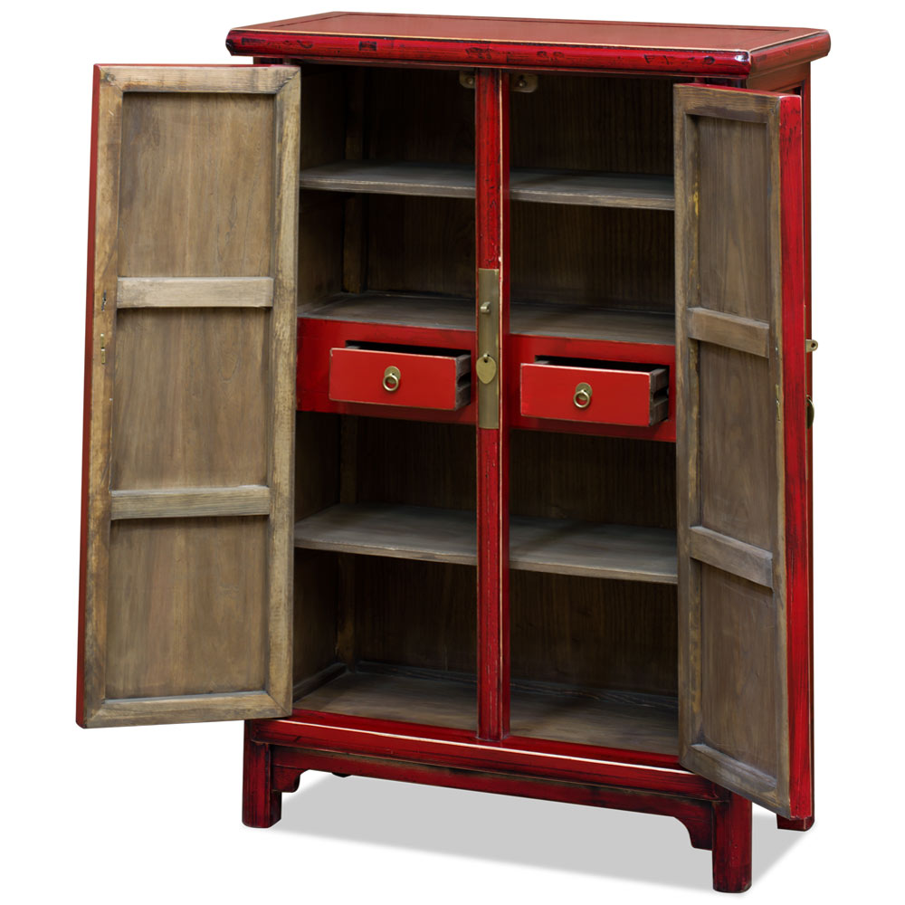 Elmwood Distressed Red Ming Chinese Cabinet