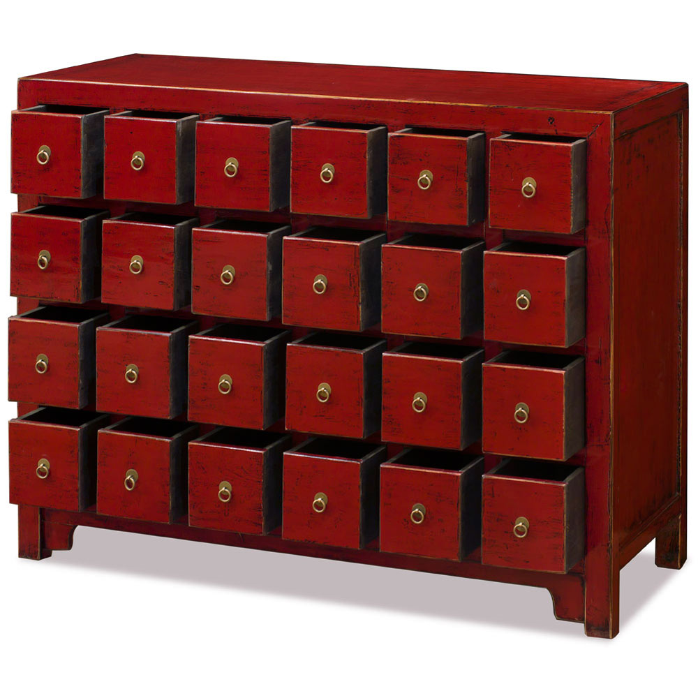 Elmwood Distressed Red Chinese Apothecary Chest
