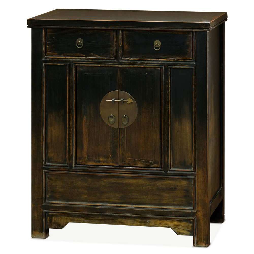 Distressed Black Elmwood Ming Cabinet