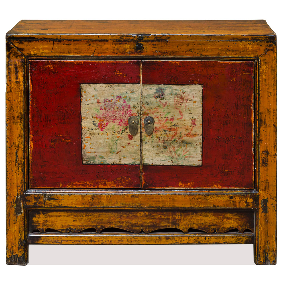 Distressed Orange and Red Elmwood Mongolian Cabinet