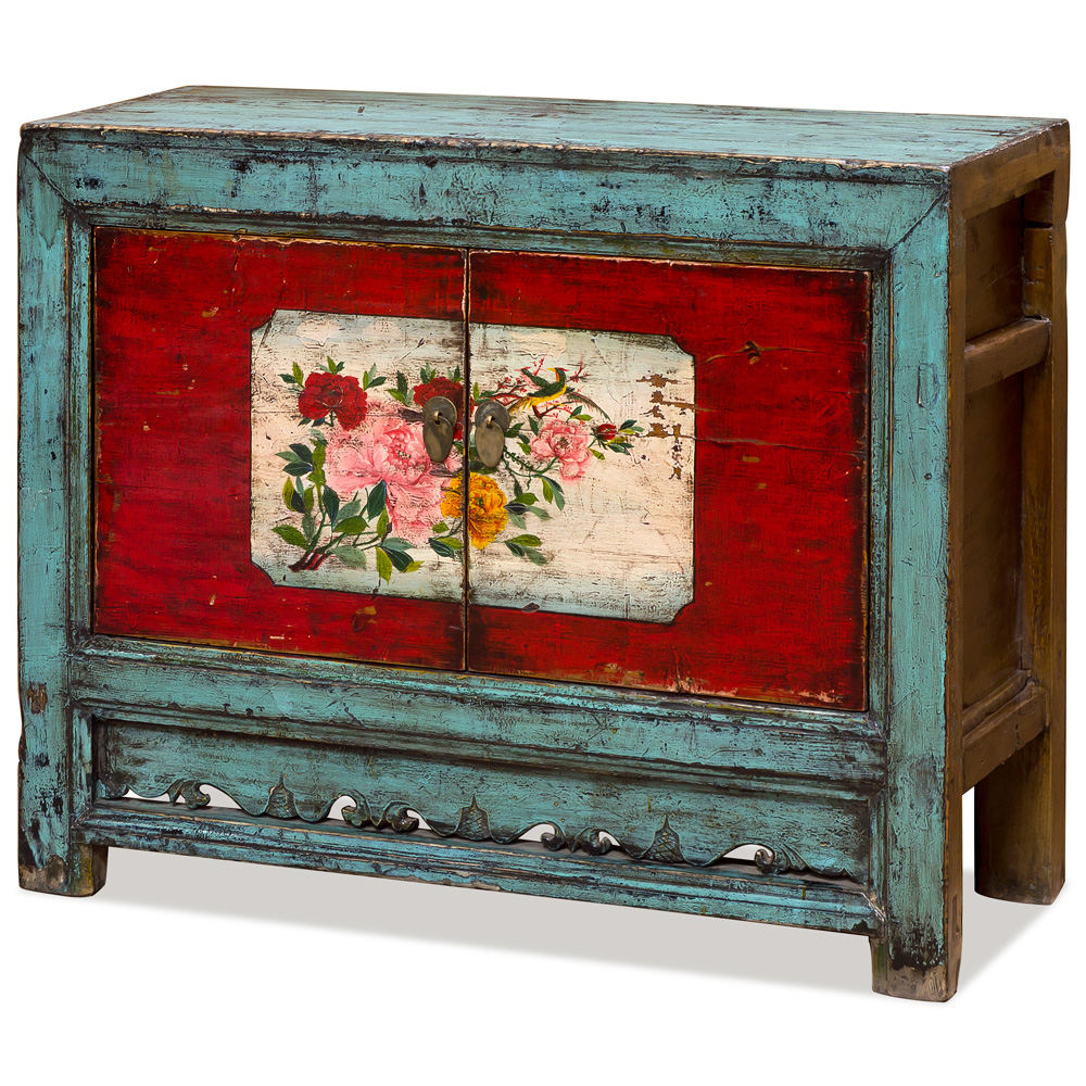 Distressed  Blue and Red Elmwood Mongolian Cabinet