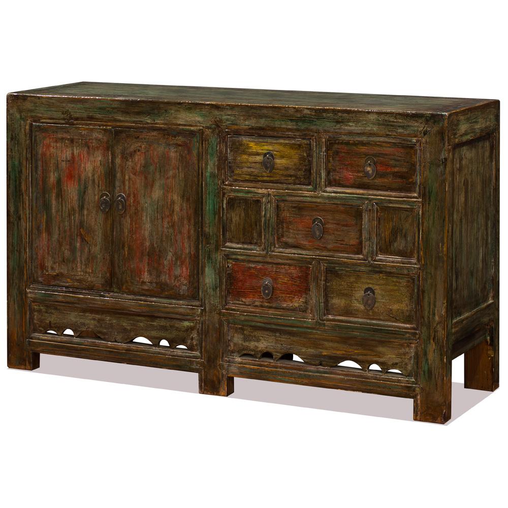 Distressed Elmwood Mandarin Cabinet