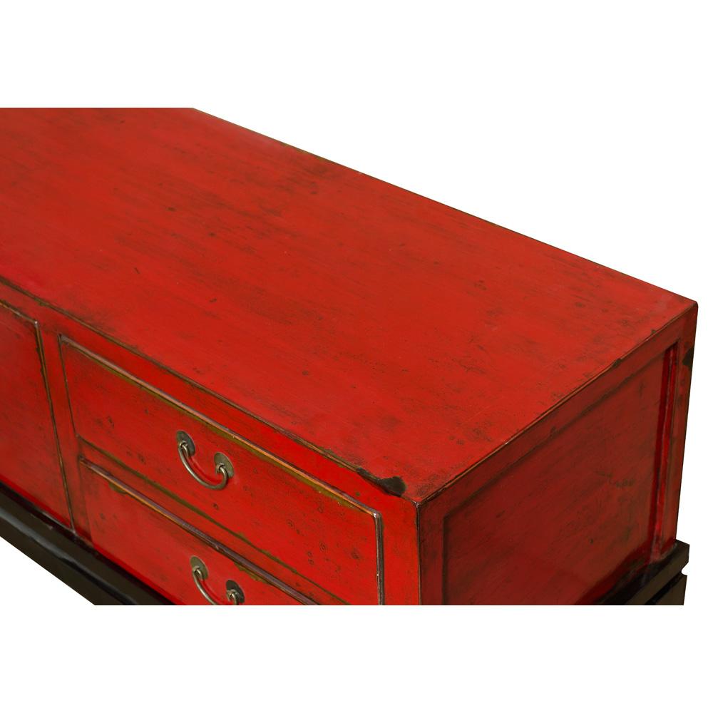 Distressed Red Elmwood Kang Oriental Media Cabinet