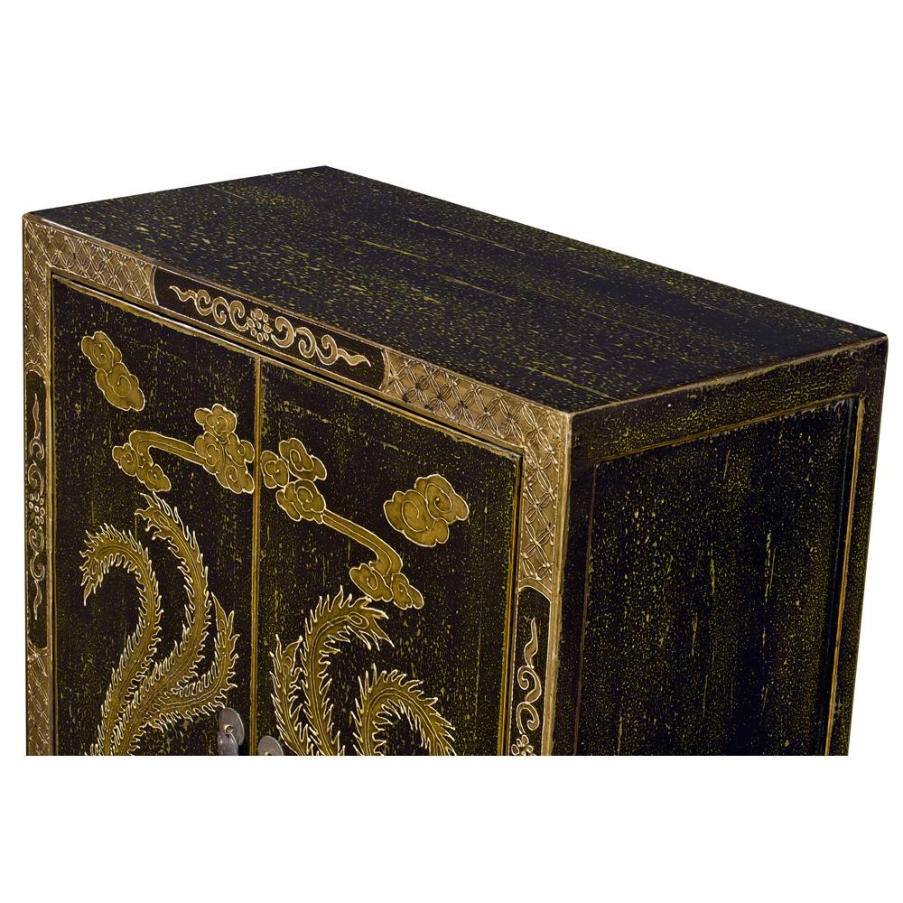 Distressed Black Elmwood Golden Double Phoenix Cabinet