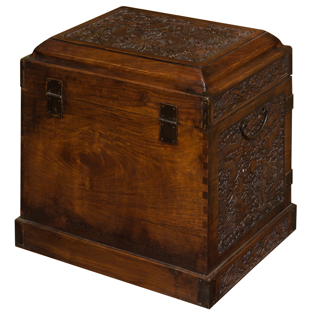 Natural Finish Elmwood Imperial Dragon Dowry Chest