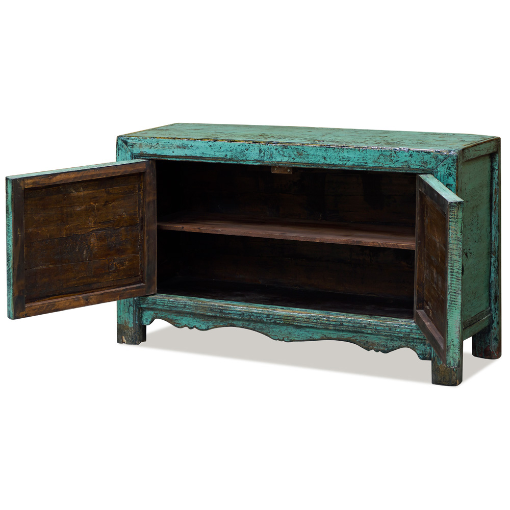 Elmwood Mongolian Peony and Lotus Cabinet