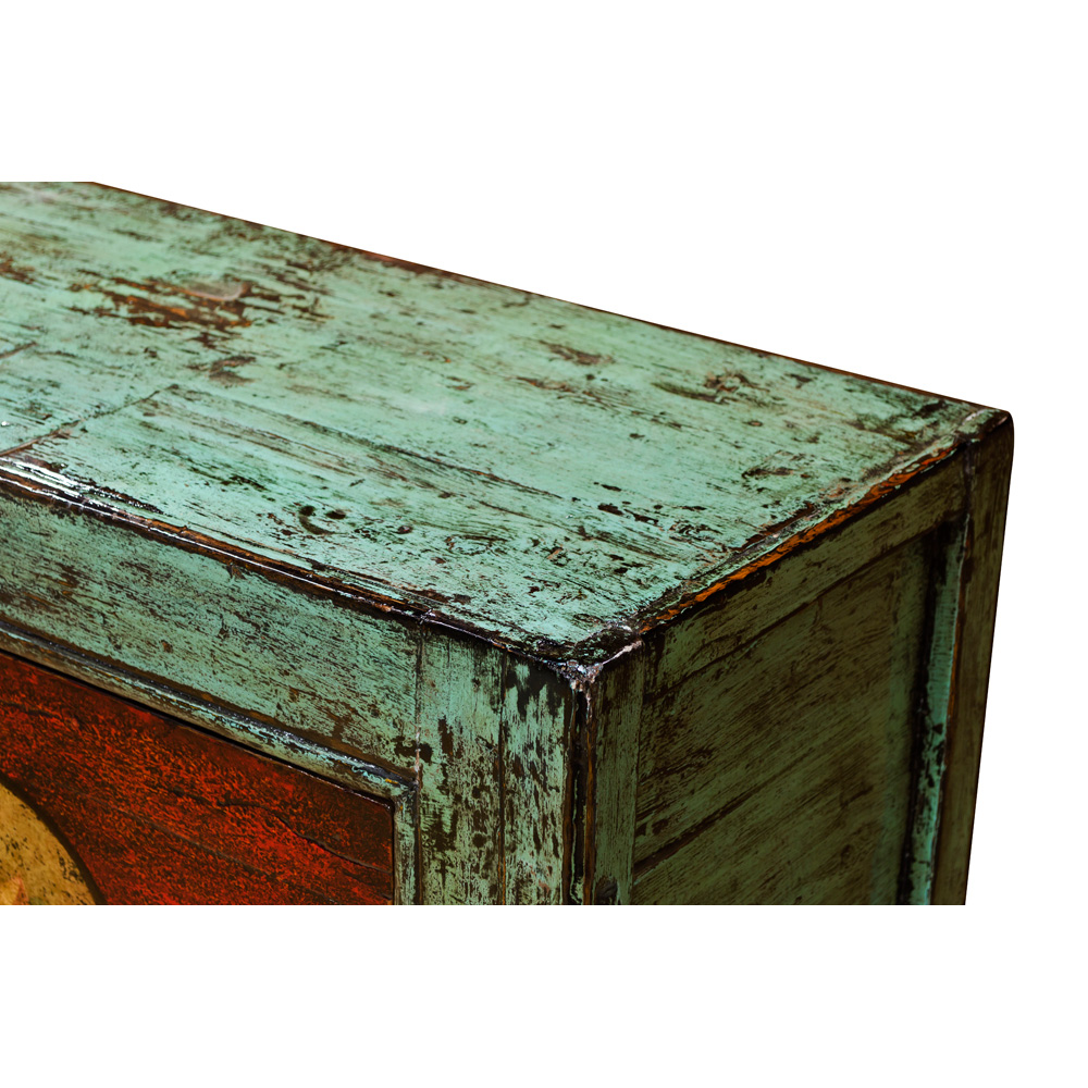 Distressed Cyan and Red Elmwood Mongolian Lotus Cabinet