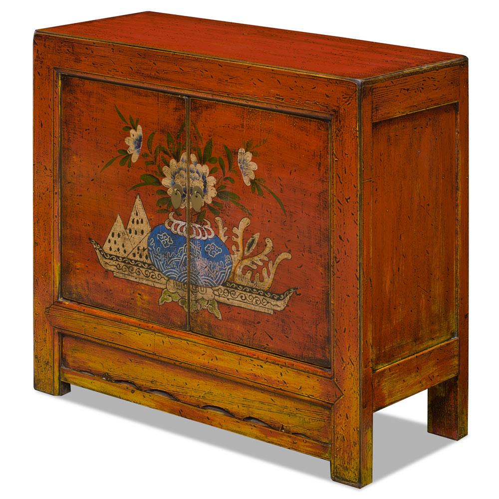 Elmwood Peony Flower Mongolian Cabinet