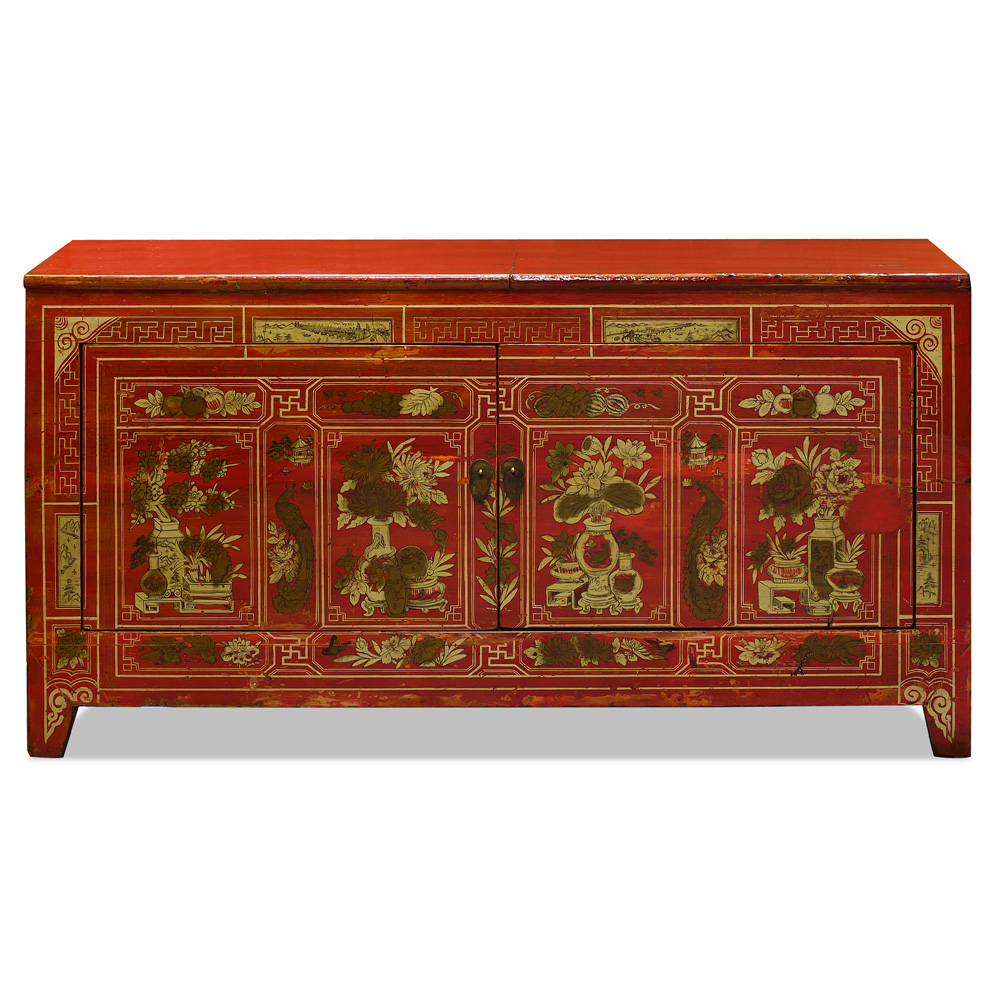 Distressed Red and Gold Elmwood Mongolian Cabinet