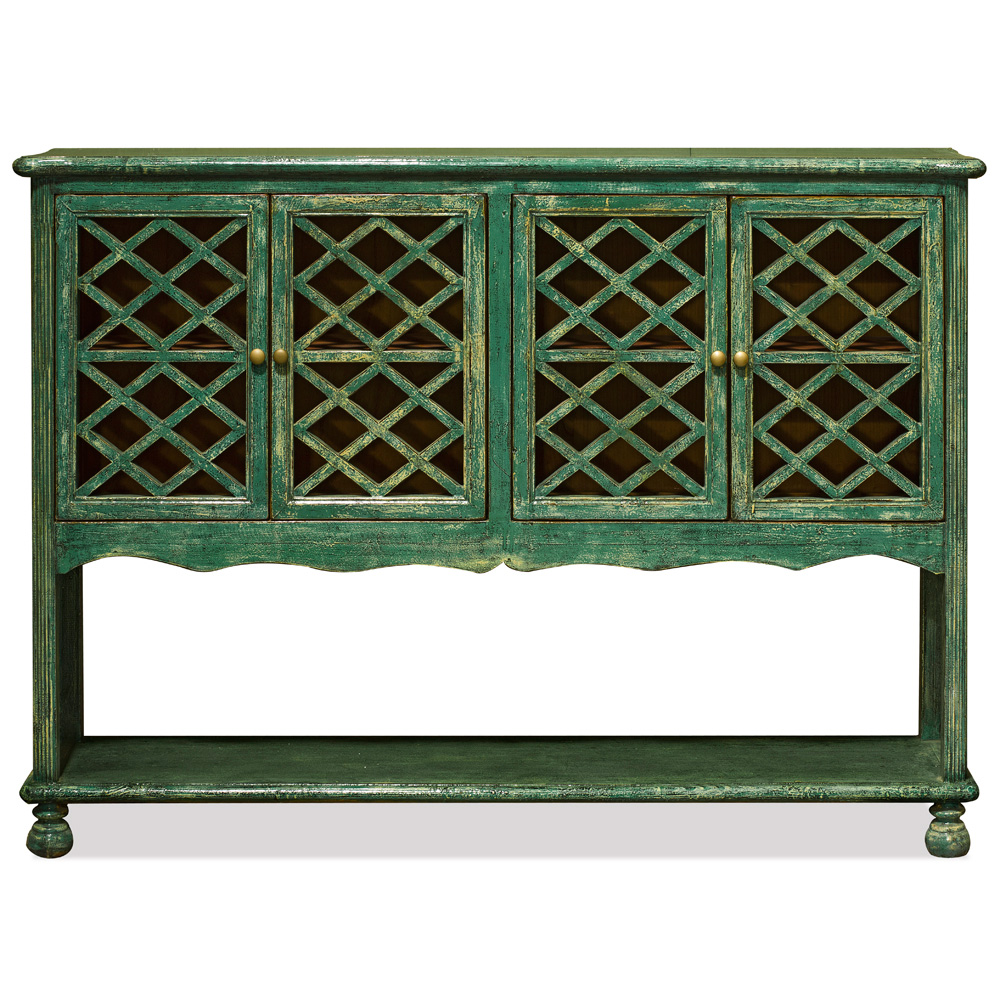 Elmwood Distressed Green Lattice Window Cabinet