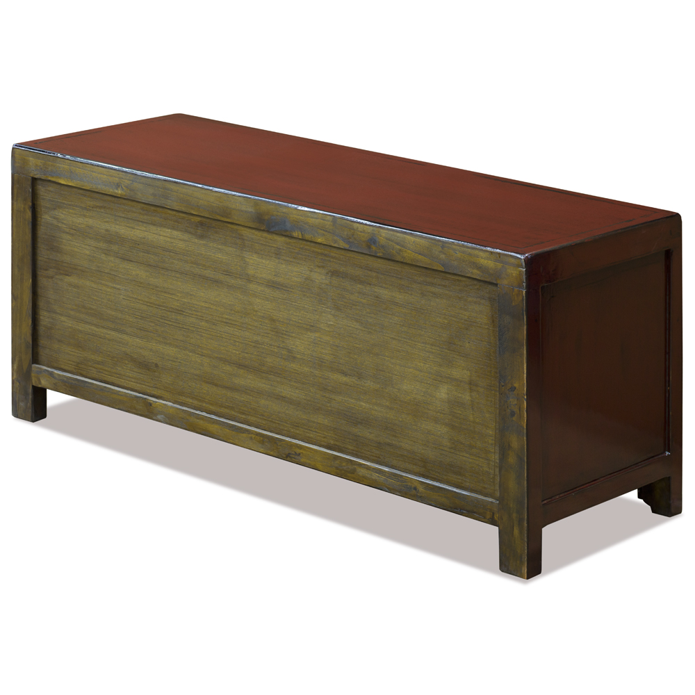 Elmwood Distressed Red Kang Oriental Sideboard