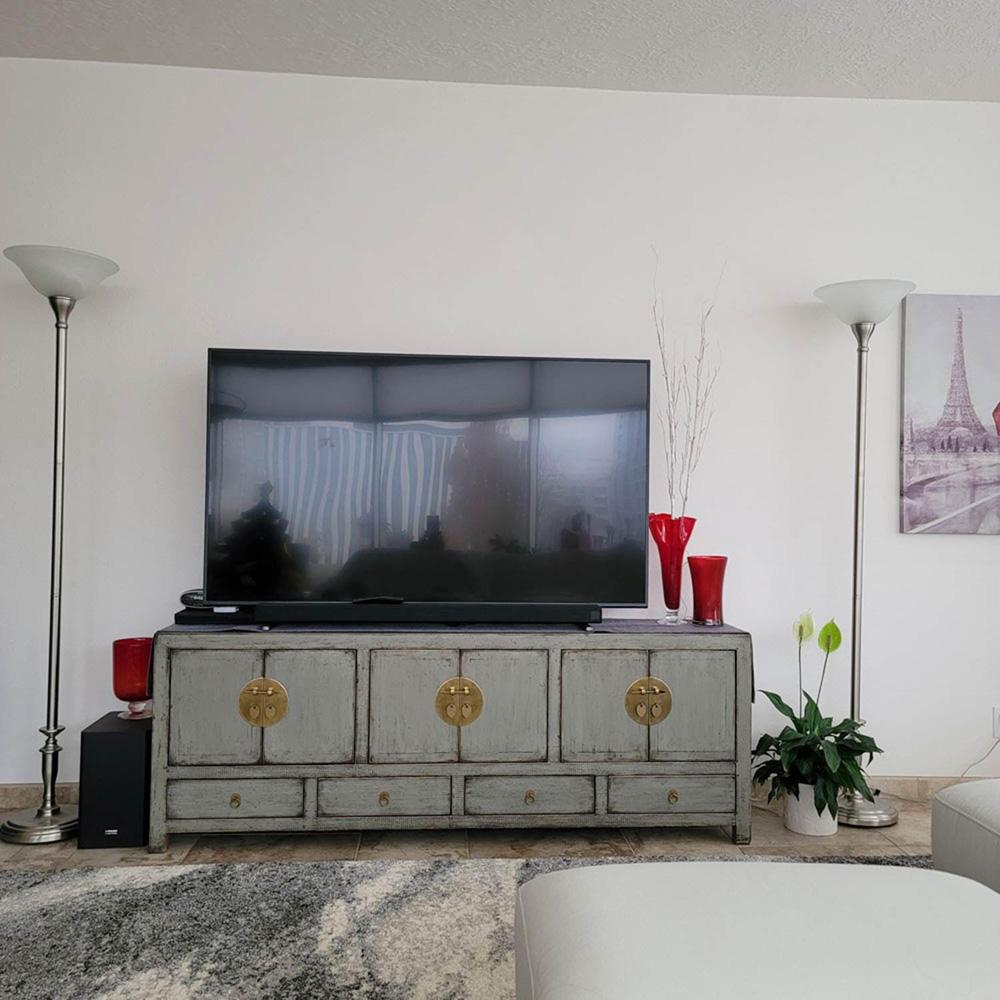 Elmwood Distressed Gray Kang Oriental Sideboard