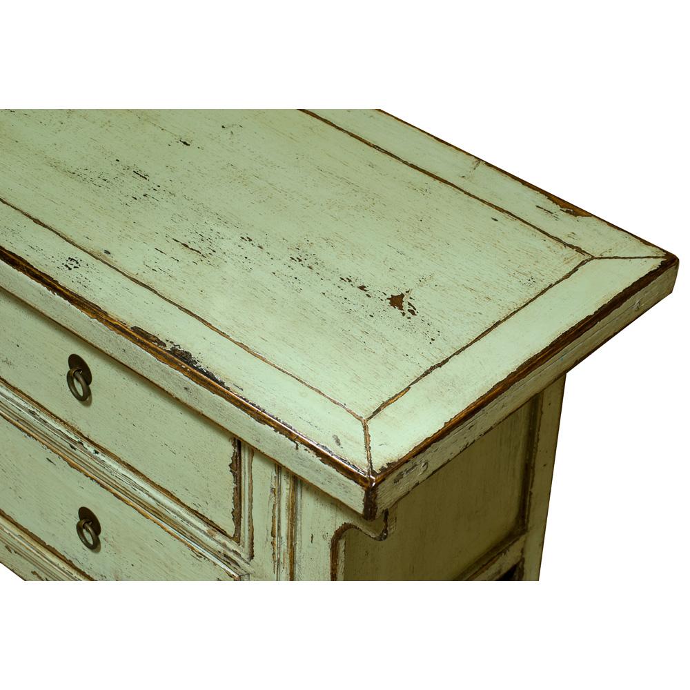 Elmwood Distressed Pastel Green Kang Oriental Sideboard