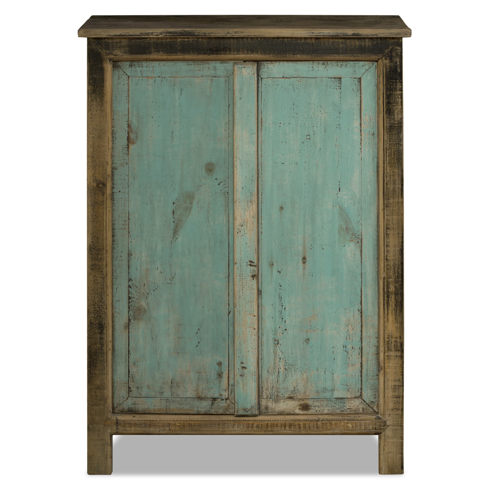 Distressed Black and Light Blue Elmwood Peking Ming Armoire