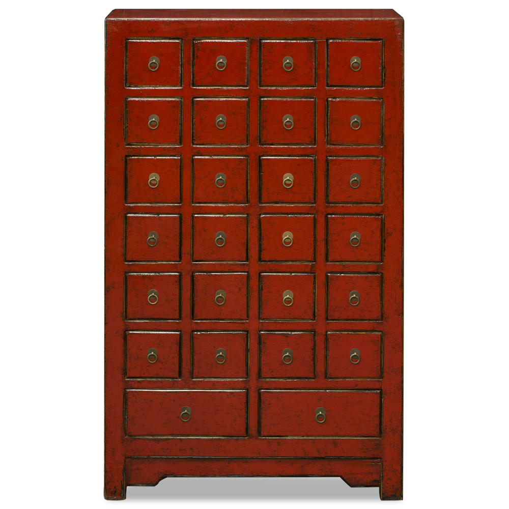 Distressed Red Elmwood Medicine Chest of Drawers