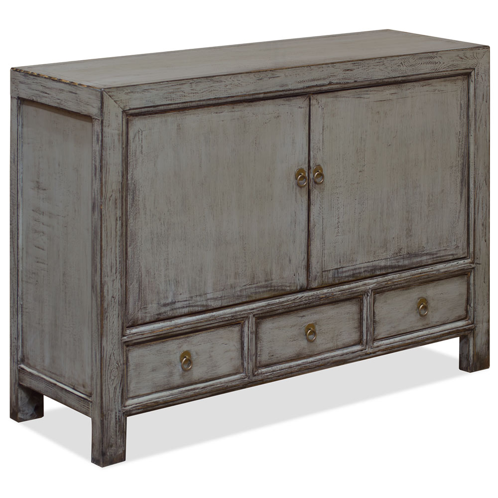 Distressed Gray Elmwood Mandarin Oriental Cabinet