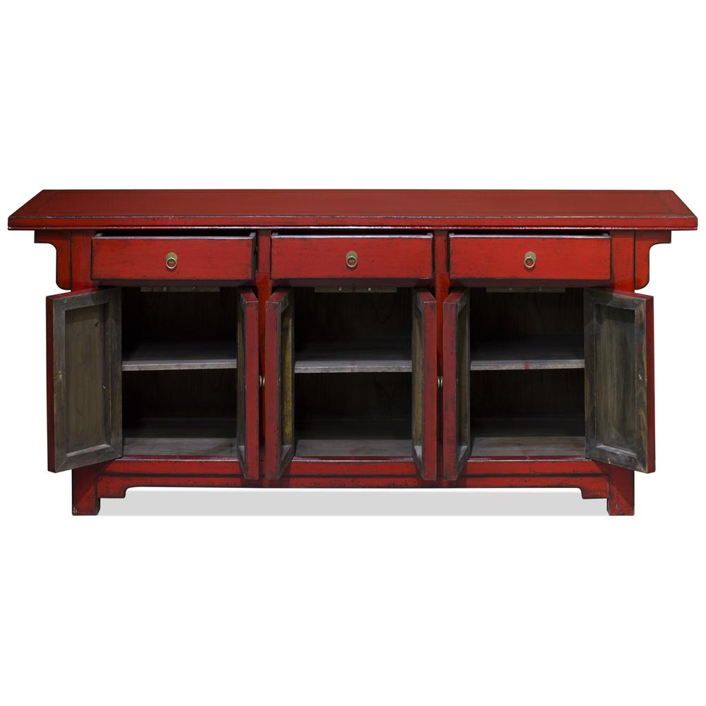 Distressed Red Elmwood Peking Oriental Altar Sideboard