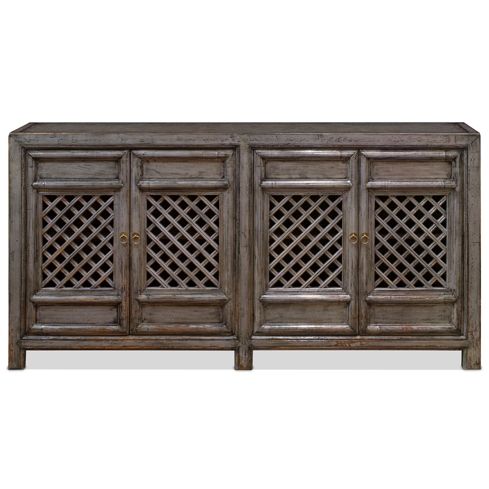 Distressed Gray Elmwood Dynasty Asian Sideboard