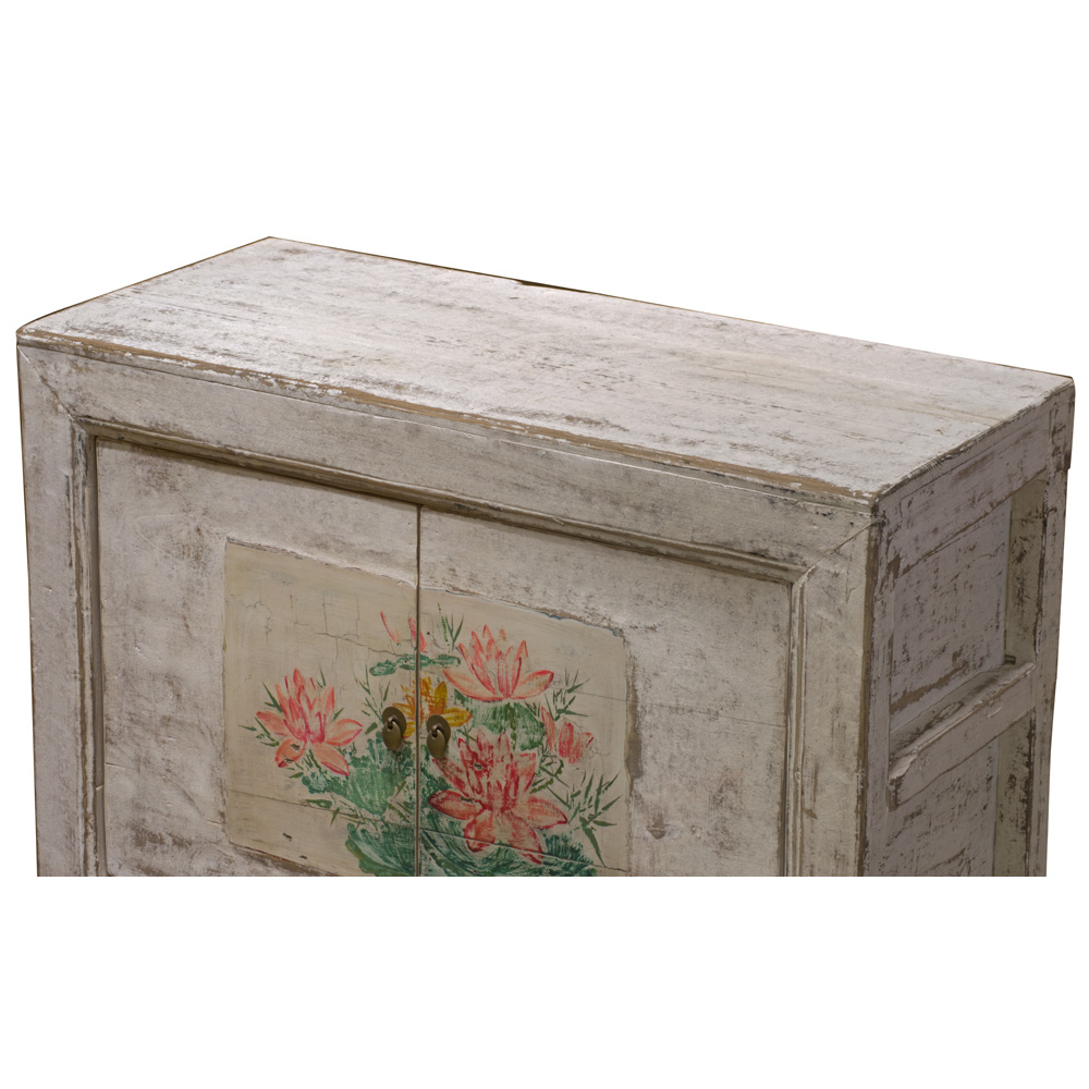 Elmwood Lotus Flower Mongolian Cabinet
