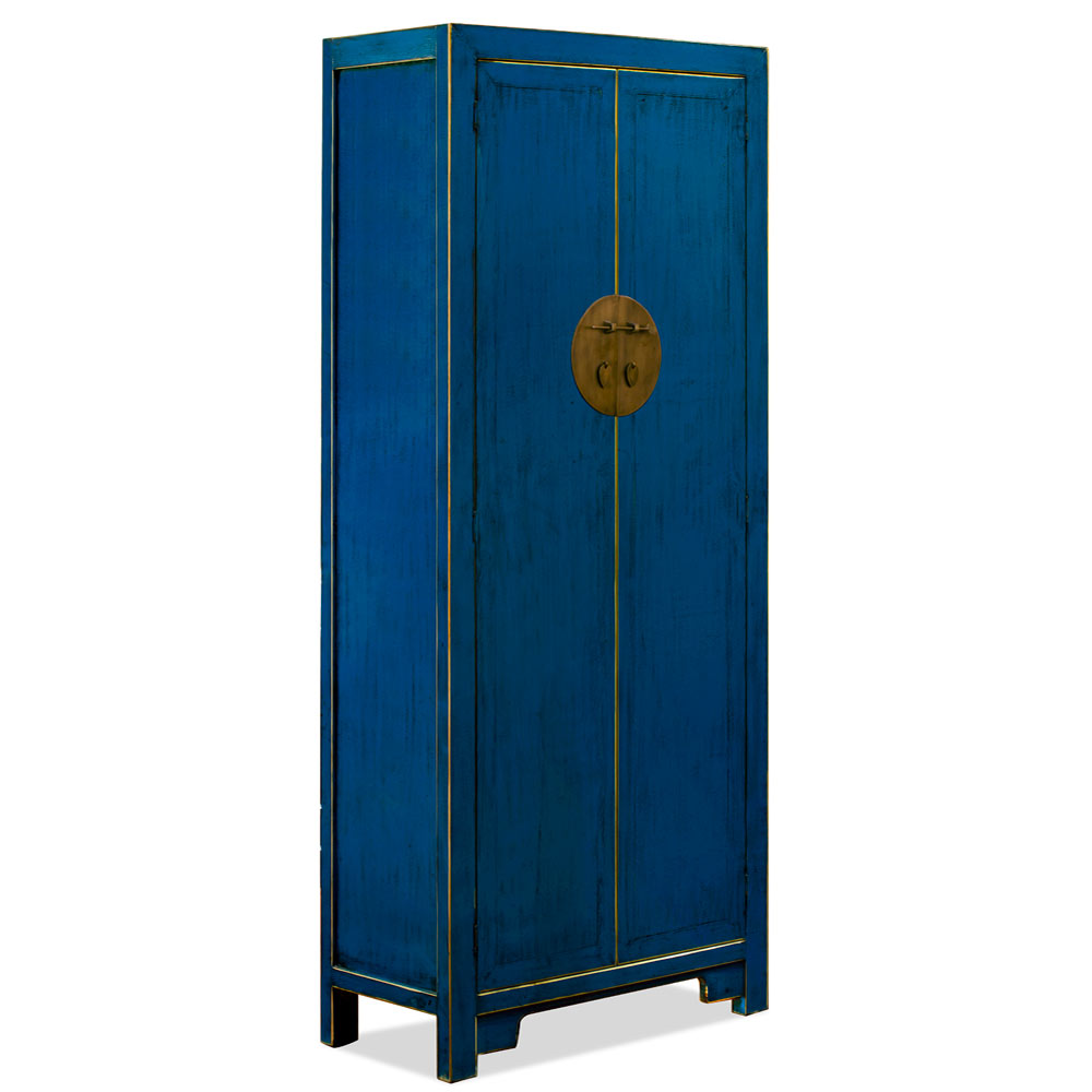 Distressed Navy Blue Elmwood Mandarin Ming Armoire