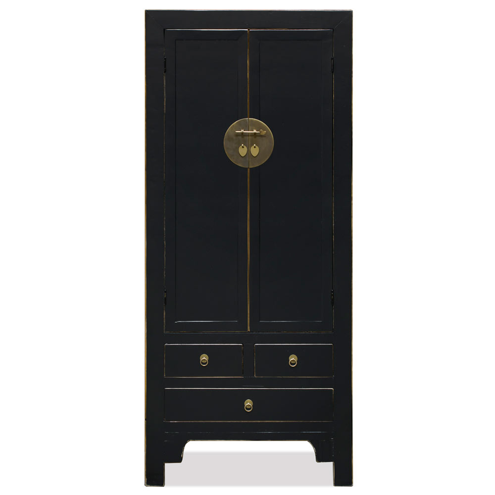 Distressed Black Elmwood Ming Armoire