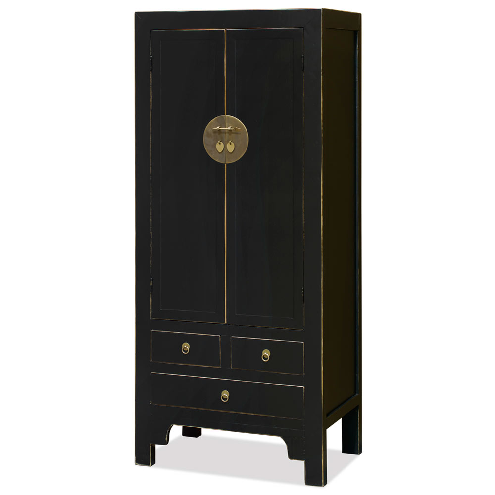 Distressed Black Elmwood Chinese Ming Armoire