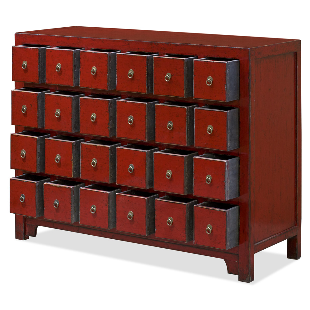Distressed Red Elmwood Apothecary Oriental Chest of Drawers