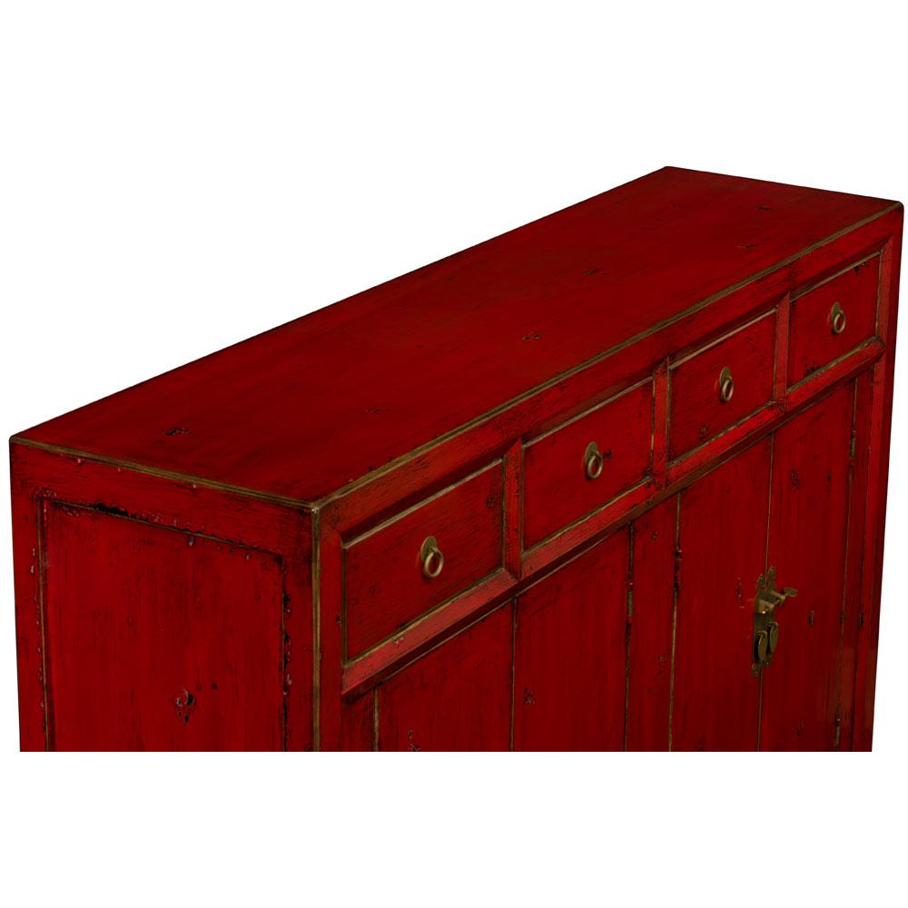 Distressed Red Elmwood Ming Sideboard