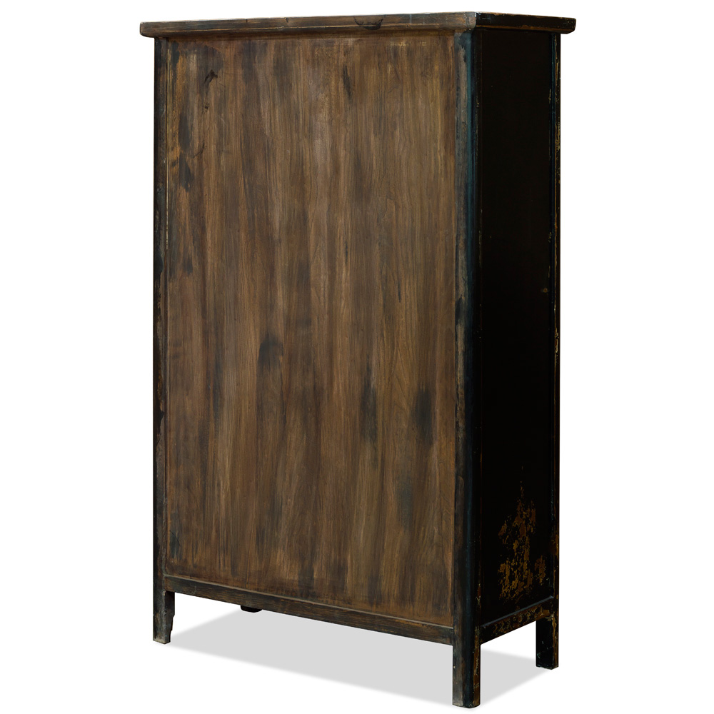 Elmwood Mandarin Cabinet with Gold Calligraphy