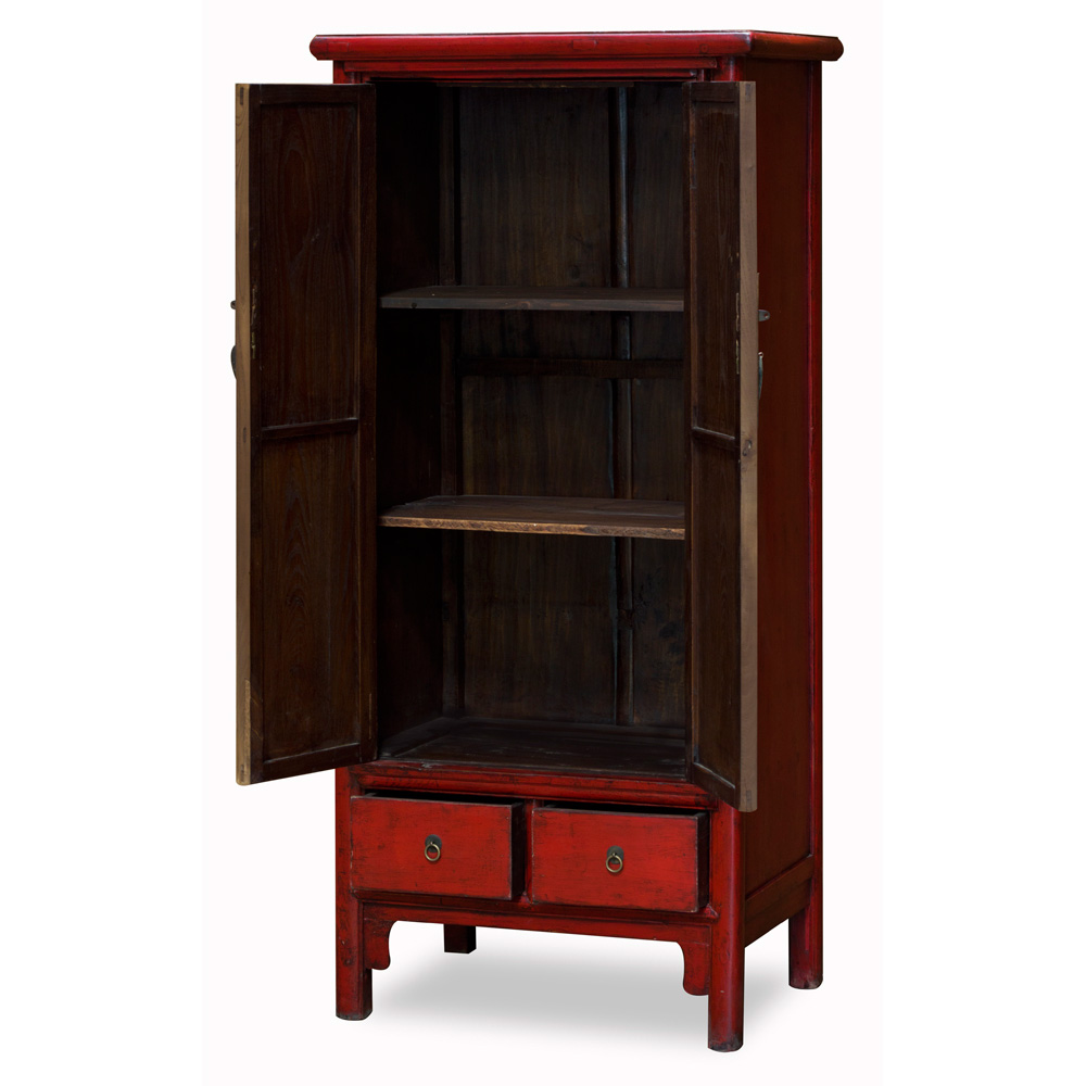 Vintage Red Elmwood Mandarin Cabinet with Robe Painting