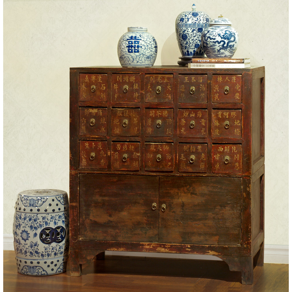 Antique Elmwood Chinese Apothecary Chest