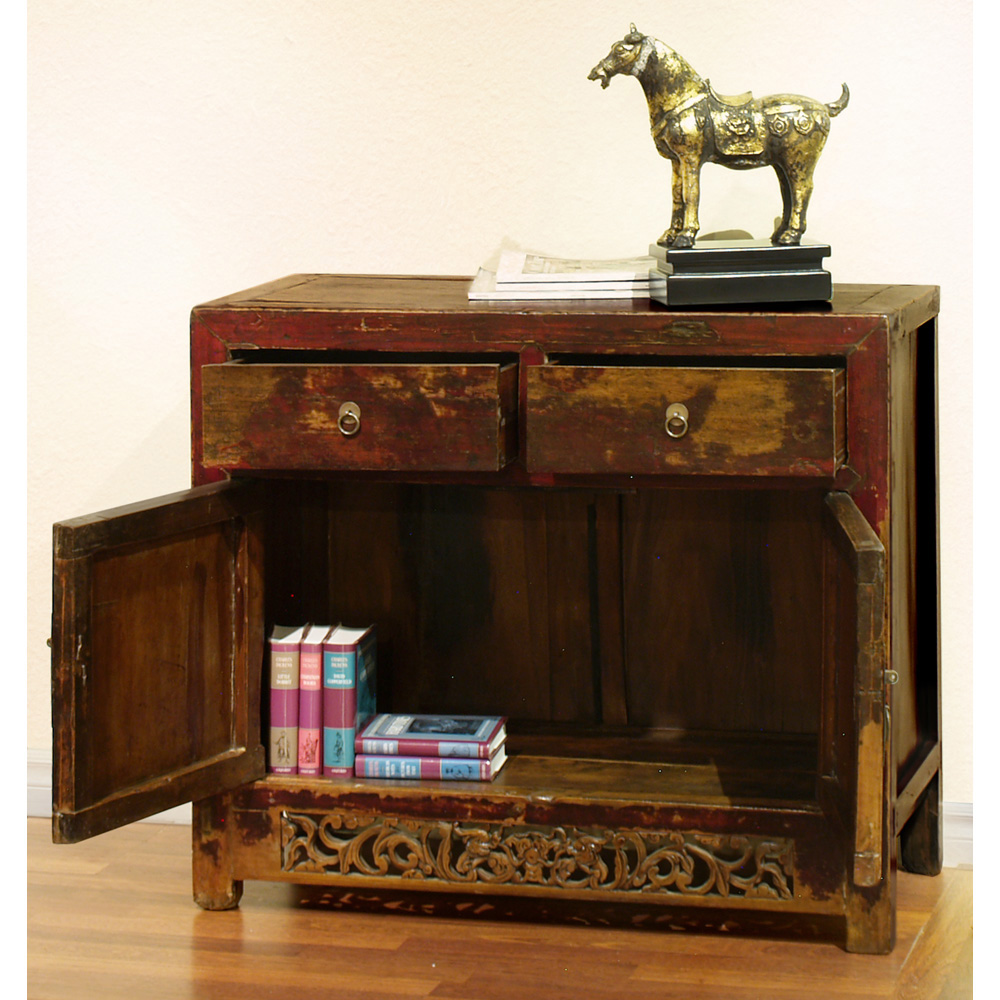 Antique Elmwood Ming Cabinet