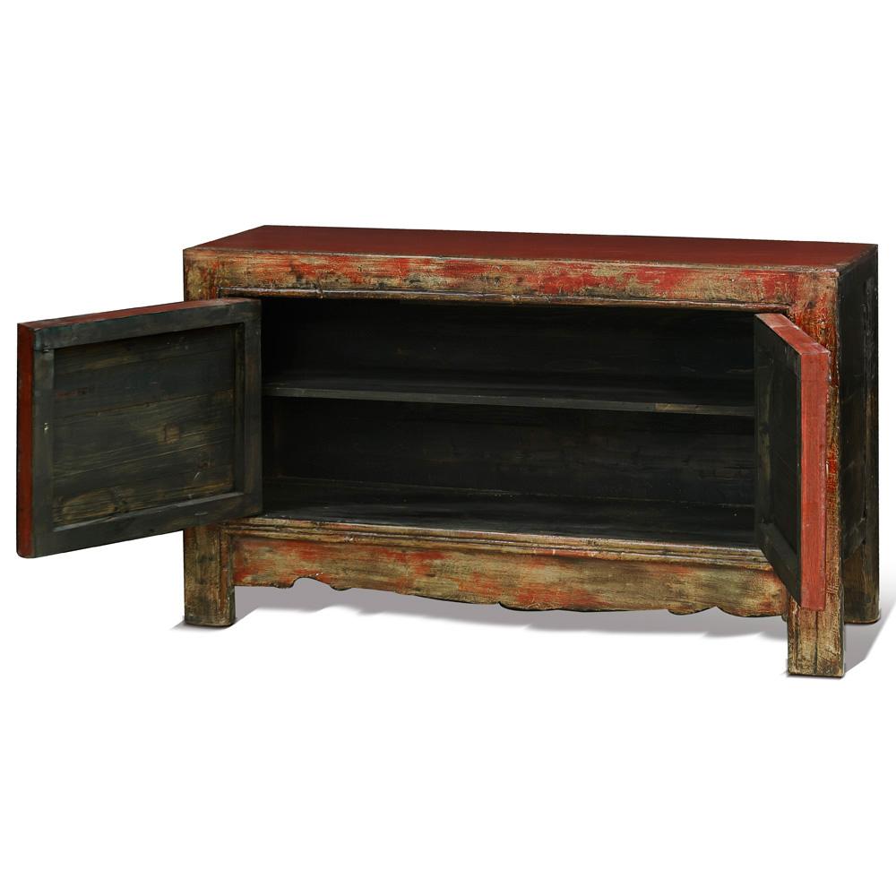 Hand-Painted Elmwood Mongolian Cabinet