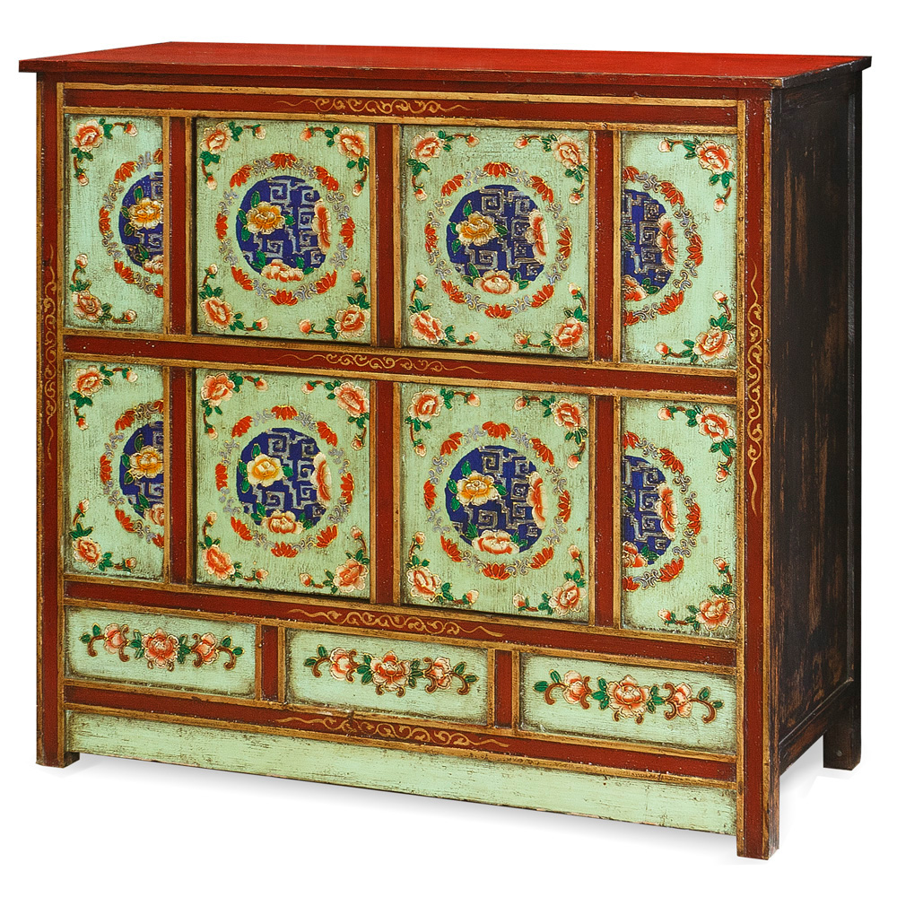 Hand-Painted Floral Motif Tibetan Cabinet