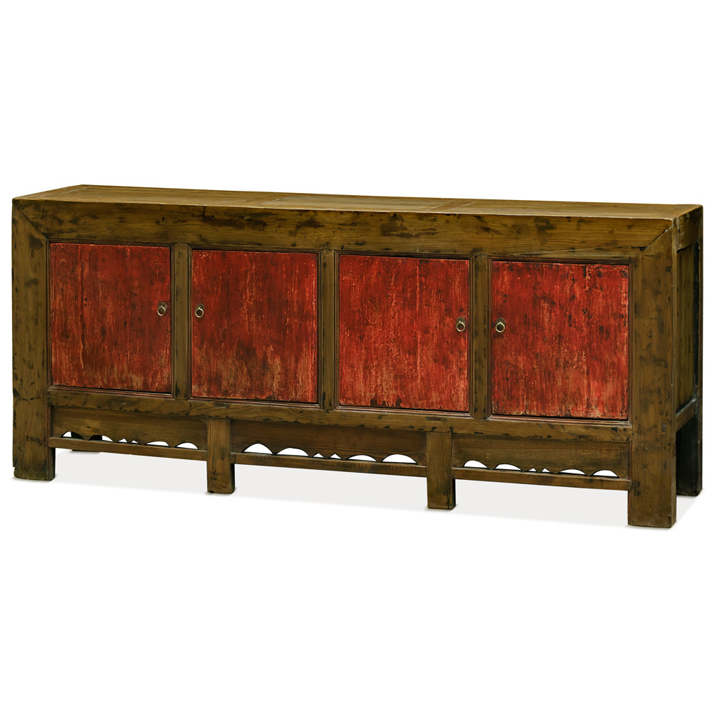 Distressed Walnut Finish Elmwood Tang Cabinet with Red Doors