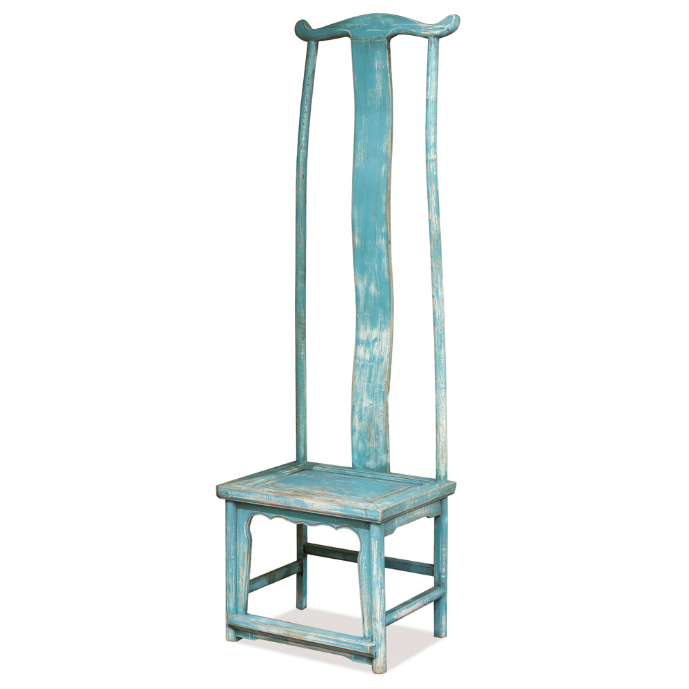 Distressed Powder Blue Elmwood Ming Tall Chair