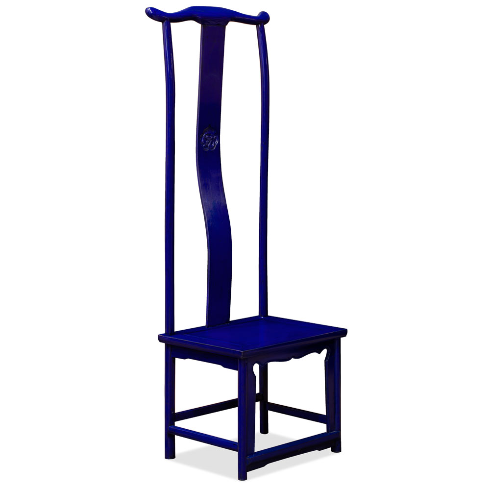 Distressed Navy Blue Elmwood Chinese Ming Tall Chair
