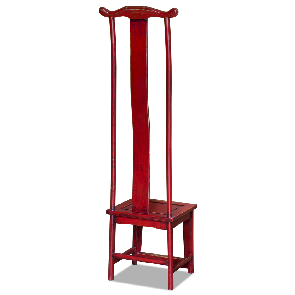 Distressed Red Elmwood Ming Tall Chair