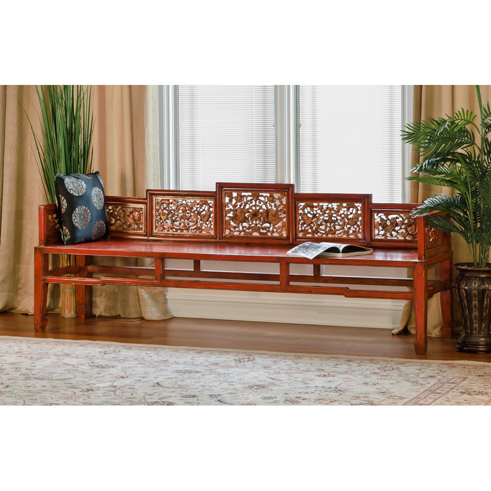 Red Elmwood Qing Day Bed