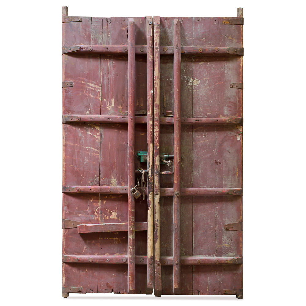 Vintage Chinese Temple Doors with Foo Dog Embellishments
